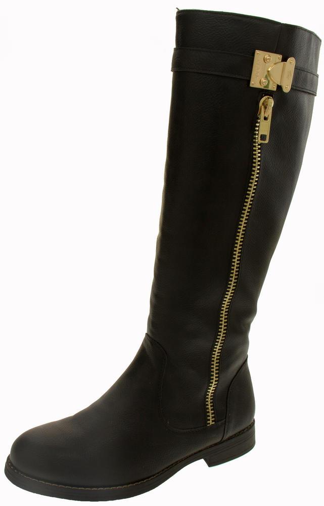 Ladies Keddo Faux Leather Knee High Zip Detail Boots