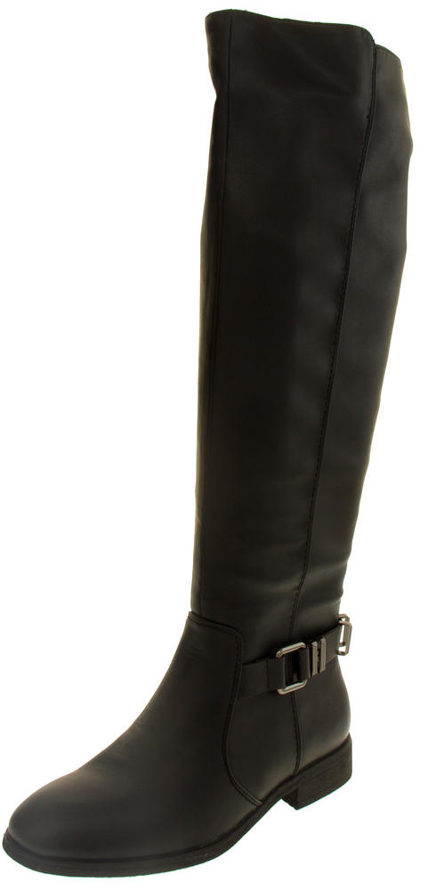 Ladies Elisabeth Faux Leather Knee High Boots with Heel Strap