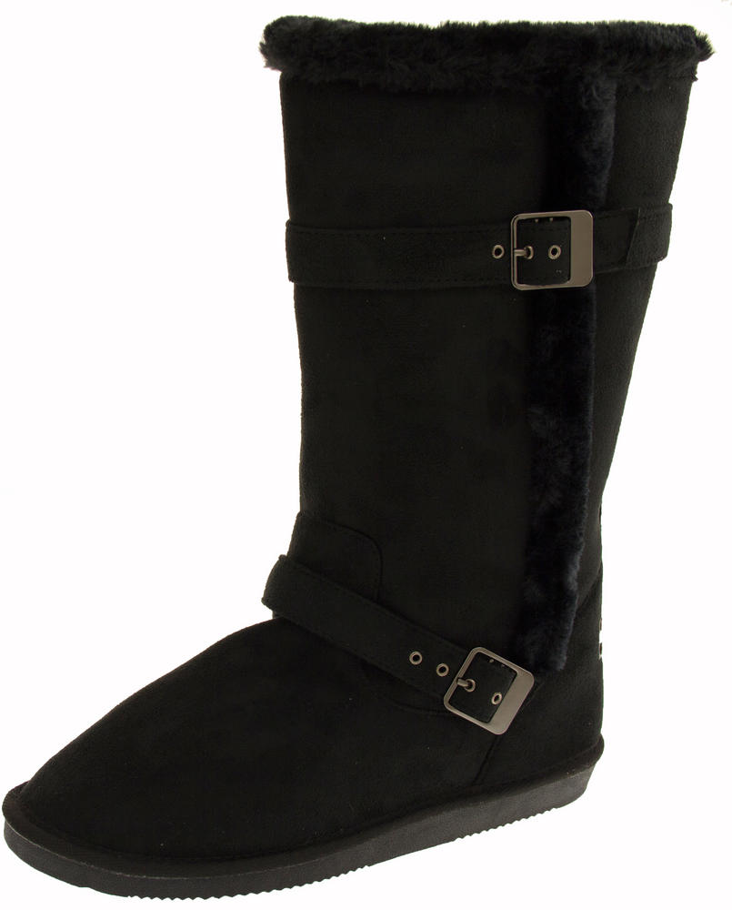 Ladies Red Rock Faux Suede Winter Boots with Buckle