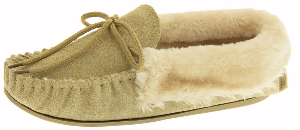 """Womens Four Seasons """"Lorna"""" Genuine Suede Fur Lined Mocassin Slippers"""