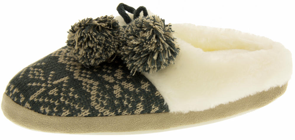 Four Seasons Womens Fur Lined Knitted Alpine Mule Slippers