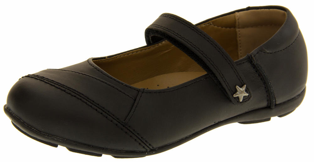Girls Annabelle Coated Leather Mary Jane Formal School Shoes