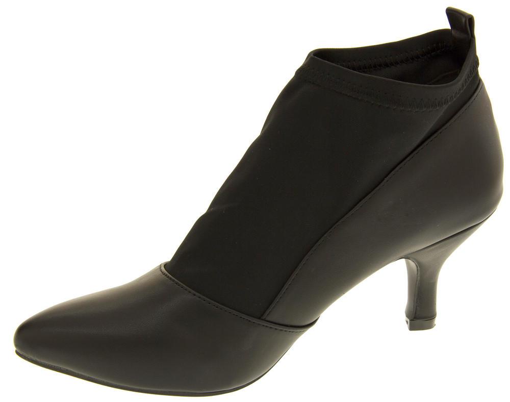 Ladies Poshh! Stretch Block Heel Court Shoe