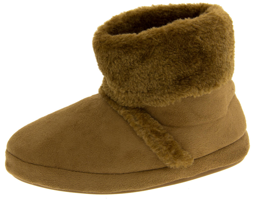 """Girls Lovely """"Yetti"""" Faux Fur Comfortable Slipper Bootees with Non Slip Sole"""
