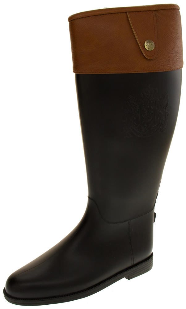 Ladies Keddo Fashion Wellington Boots with Faux Leather Cuff