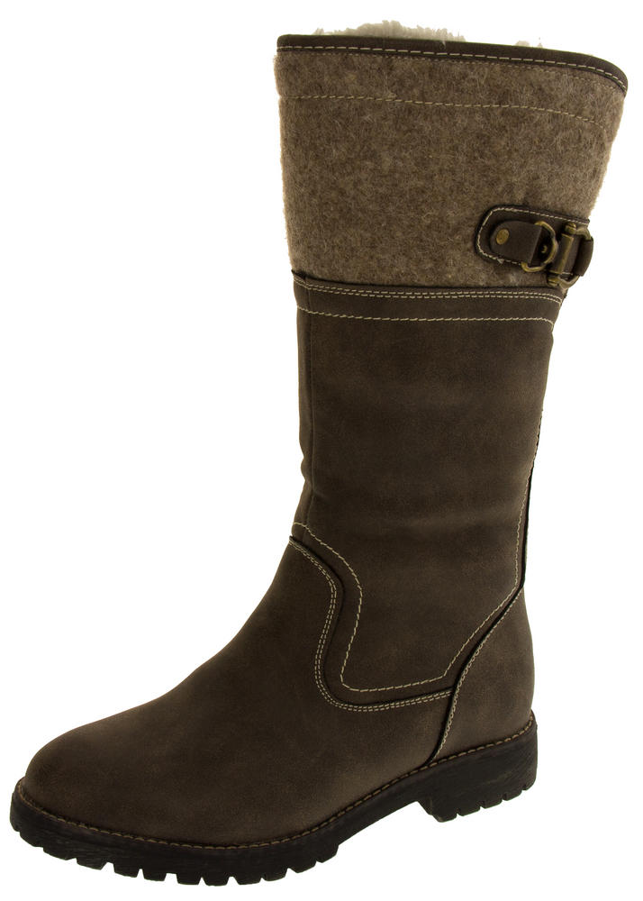 Ladies Keddo Faux Leather Fur Lined Biker Boots
