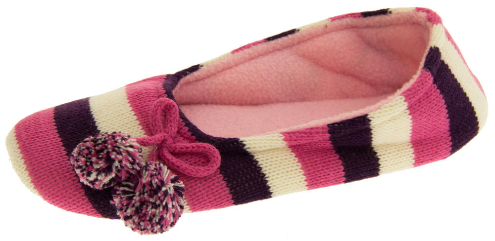 Ladies Coolers Kumfipumps Stripey Knitted Ballerina Slippers