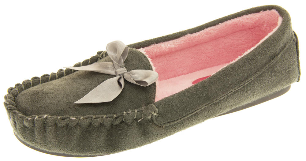 Ladies Dunlop Faux Fur Lined Moccasion Slippers