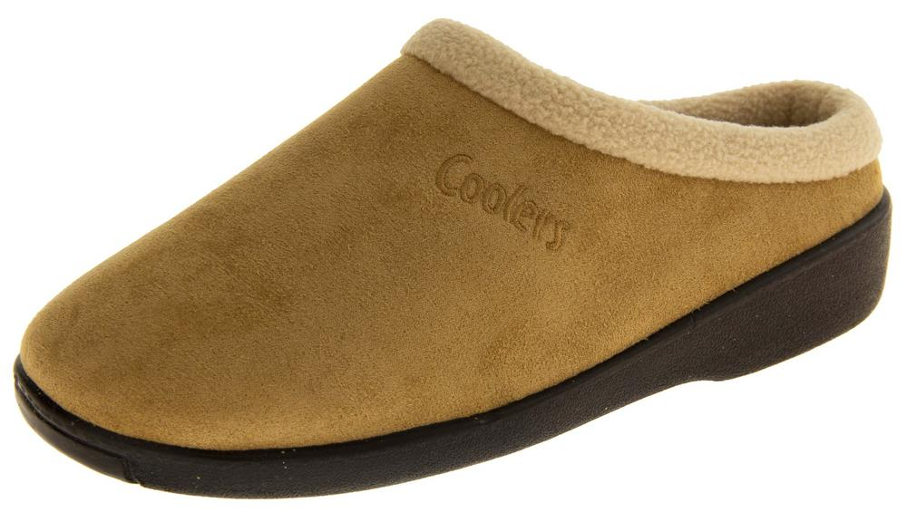 Mens Coolers Faux Suede Open Back Slippers