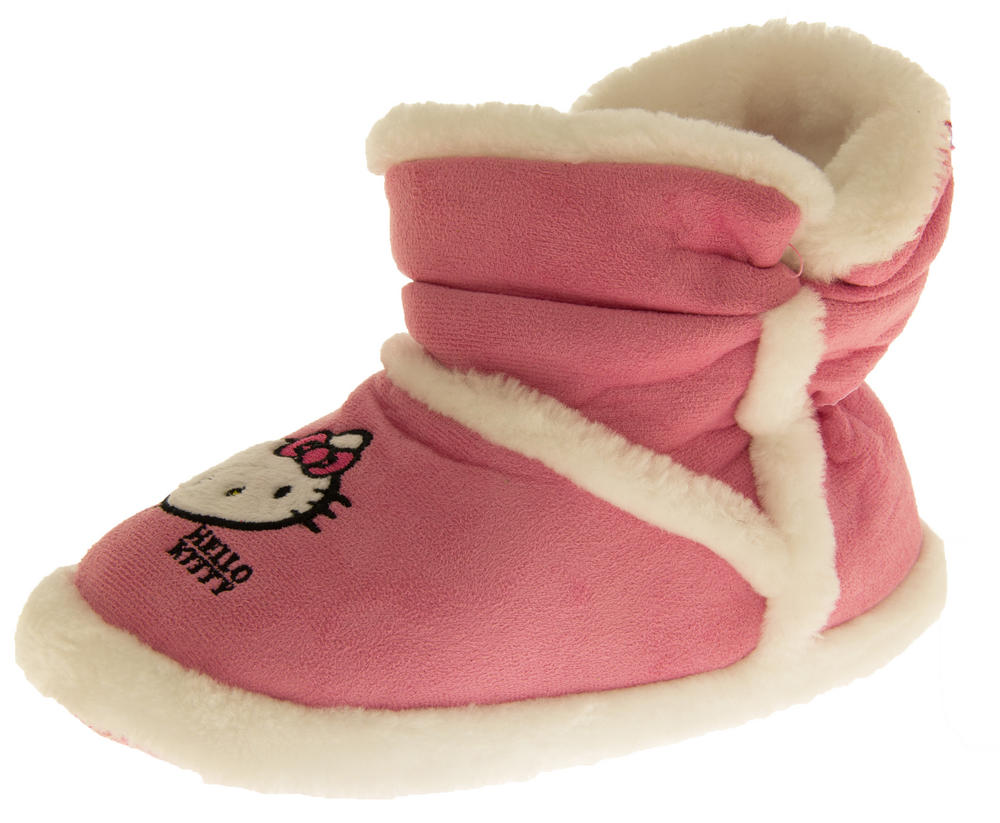 Girls Hello Kitty Faux Fur Lined Boot Slippers