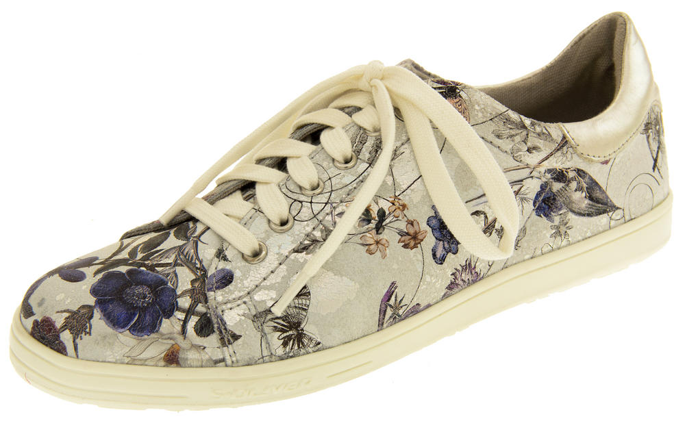 Ladies s.Oliver Silver Floral Casual Plimsolls Womens Butterfly Floral Pumps