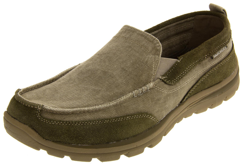 Mens Skechers Superior Melvin Slip on Relaxed Fit Canvas Moccasins