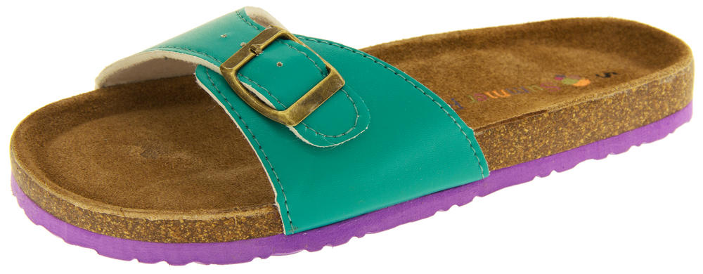Womens Coolers YF07061 Faux Leather Buckle Strap Mule Sandals