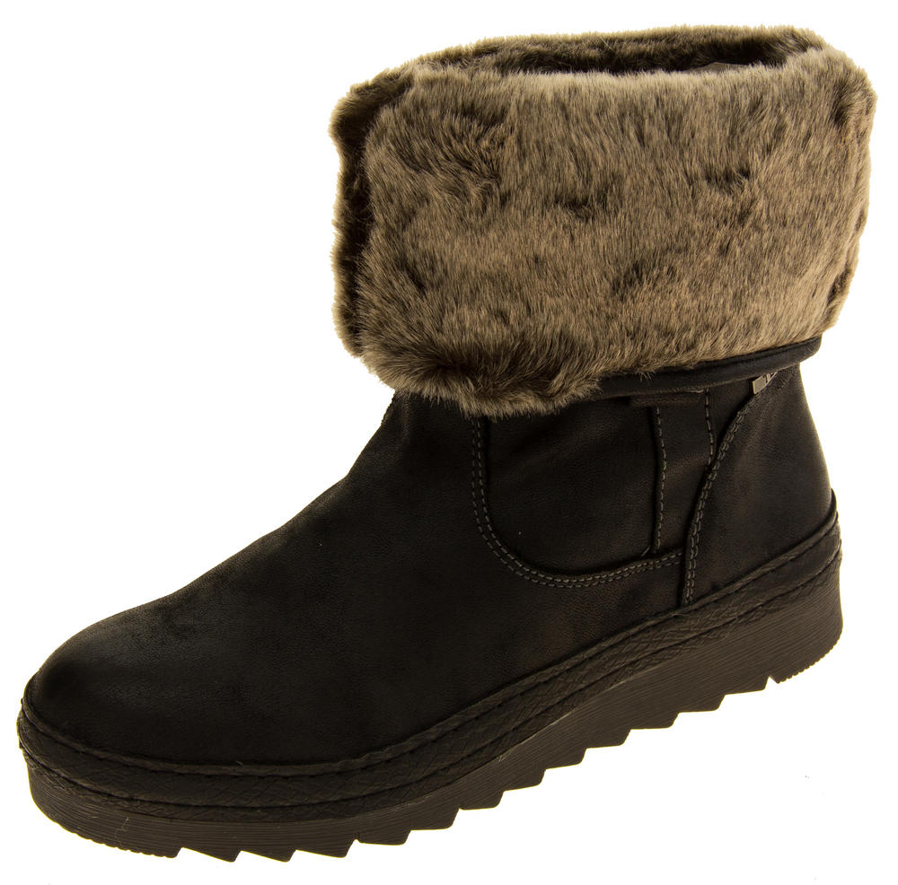 Womens JANA Leather Effect Faux Fur Lined Ankle Boots