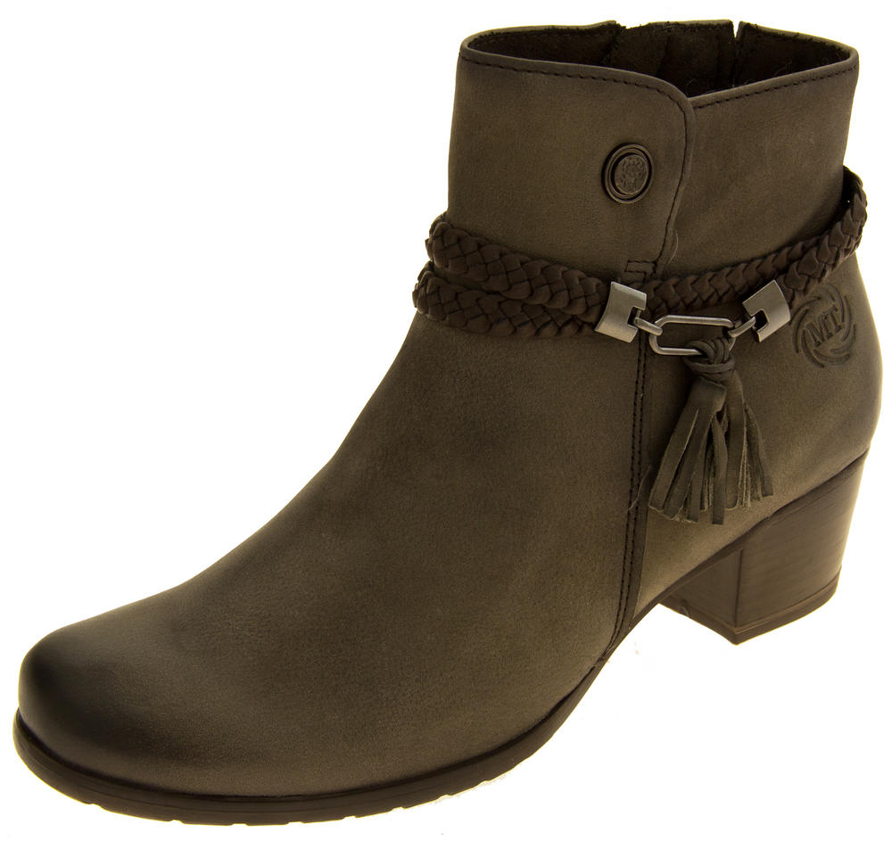 Ladies Marco Tozzi Brown Leather Ankle Boots with Zip