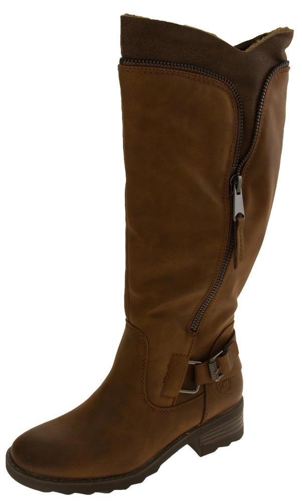 Ladies Marco Tozzi Faux Leather Faux Fur Lined Boots