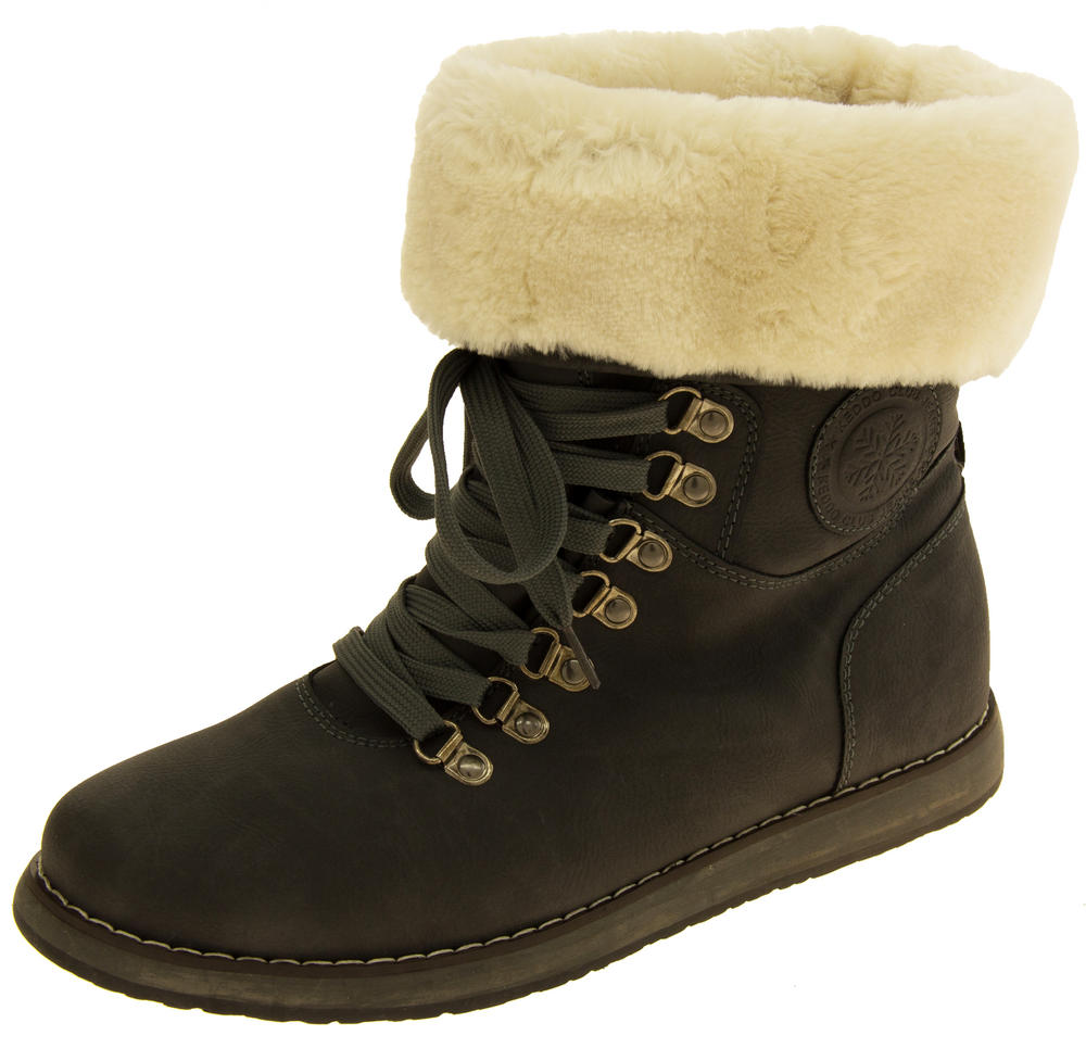Ladies Keddo Grey Faux Leather Ankle Boots Faux Fur Lined Boots
