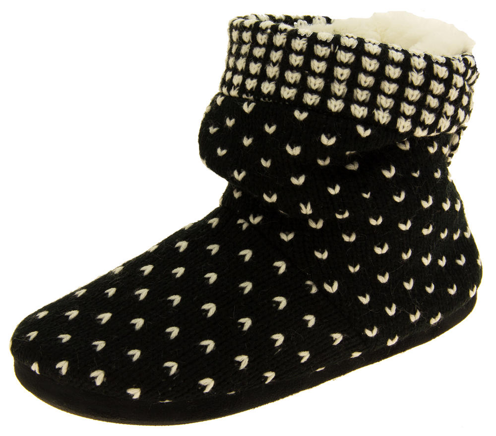 Ladies Coolers Knitted Warm Lined Winter Boot Slippers