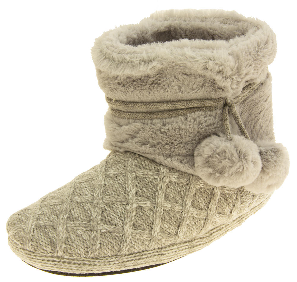 Ladies 'Coolers'  Warm Fur Lined Knitted Slipper Boots