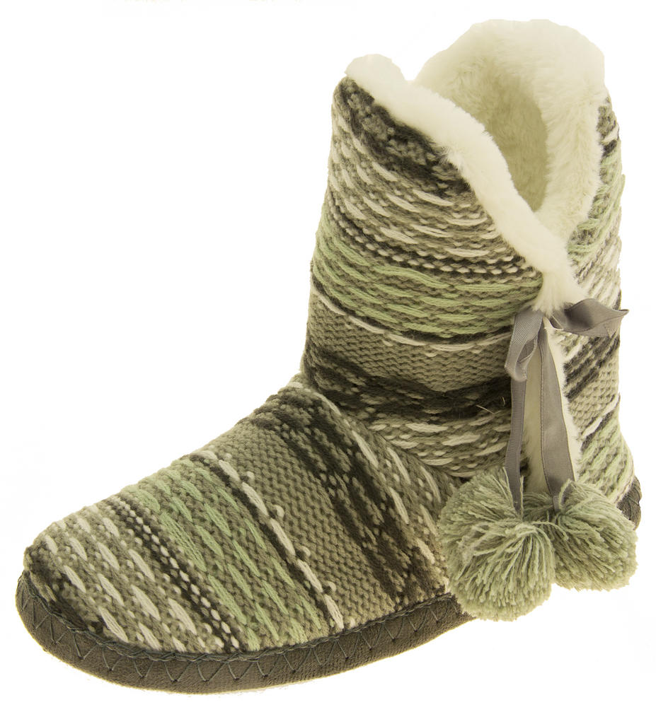 Ladies 'Coolers' Knitted Faux Fur LIned Boot Slippers