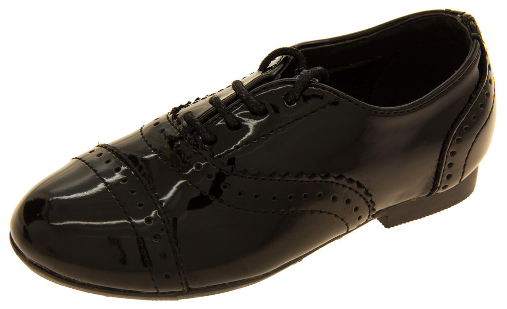 Girls GOLA Black Patent Coated Leather Brogues Shoes