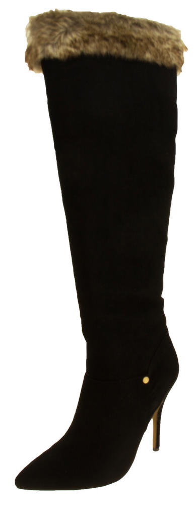 Womens RAVEL Black Faux Suede Faux Fur Topped Knee High Boots