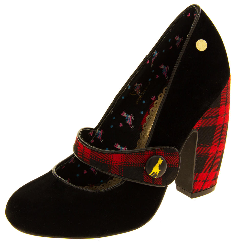 Ladies BABYCHAM Faux Suede Black and Red Tartan Mary Jane Block Heels