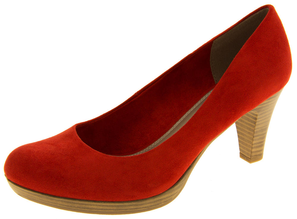 Ladies MARCO TOZZI Red Mid Heels Faux Suede Court Shoes