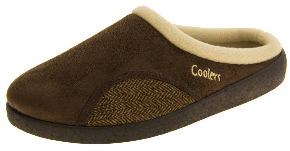 Gorgeous Mens Coolers Brown Open Back Padded Mule Slippers