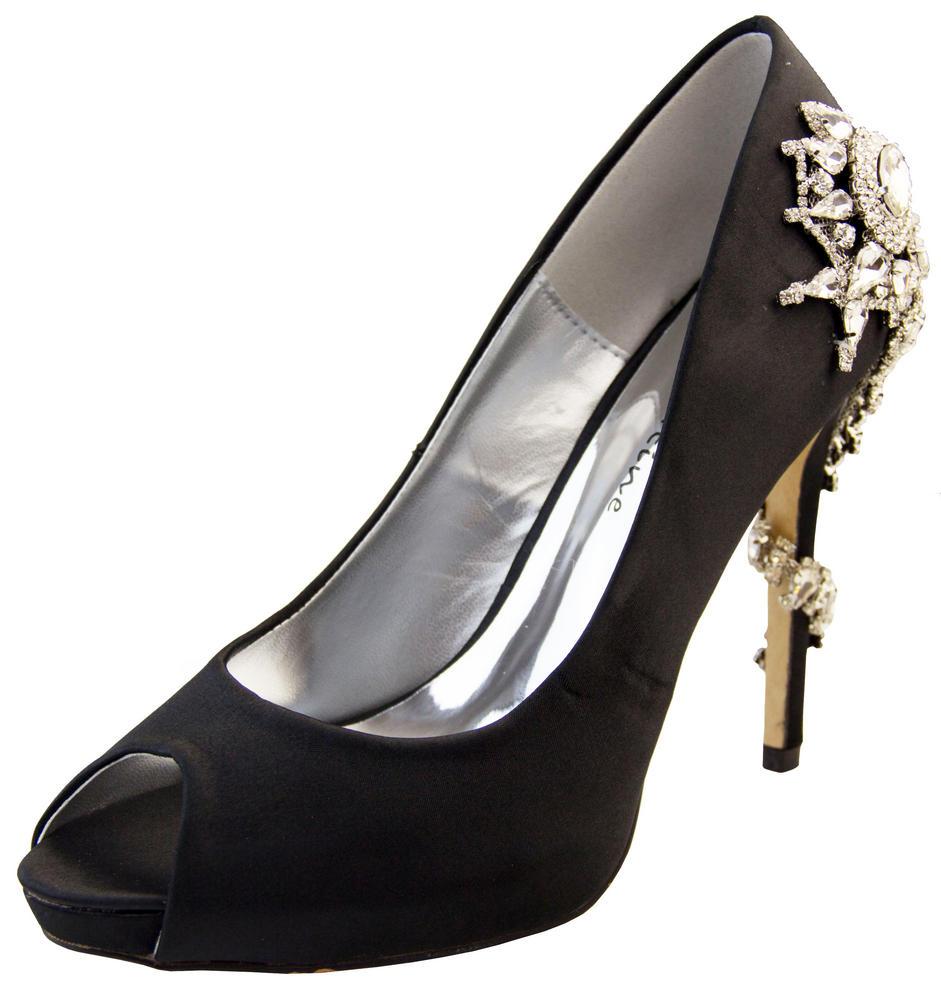 "Ladies Sabatine Satin Diamante High Heels 4.5"" Wedding Shoes"