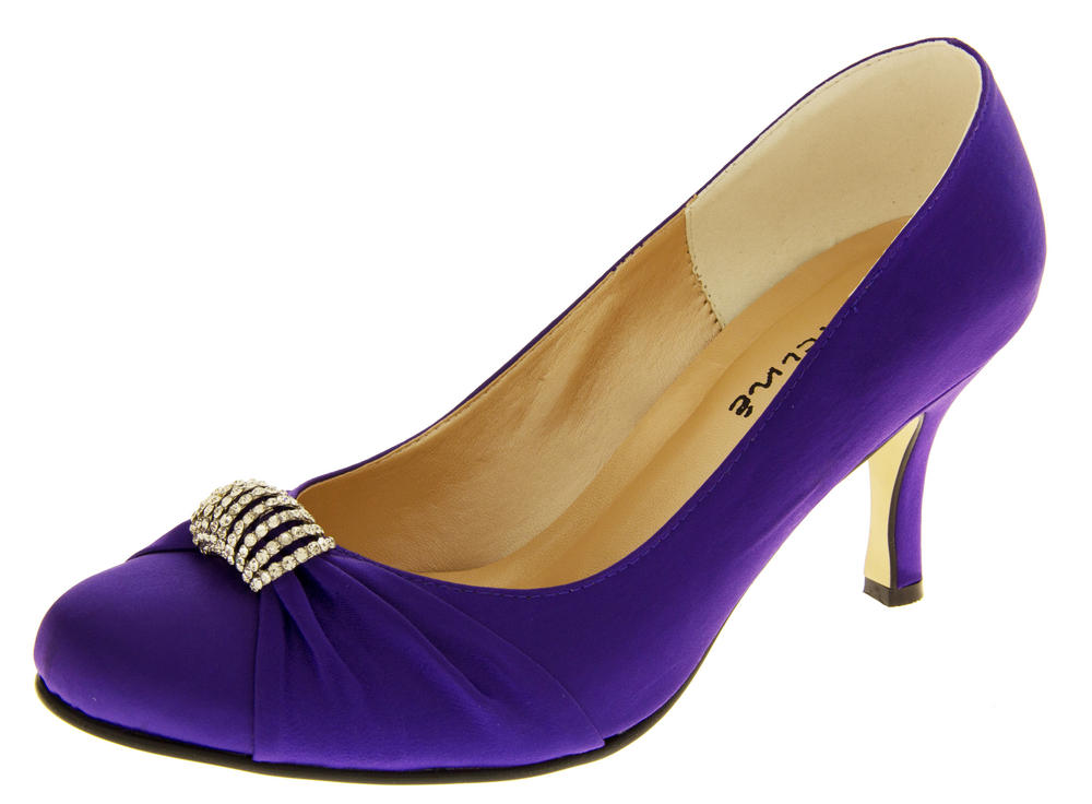 Ladies Satin Diamante Court Shoes Wedding Shoes