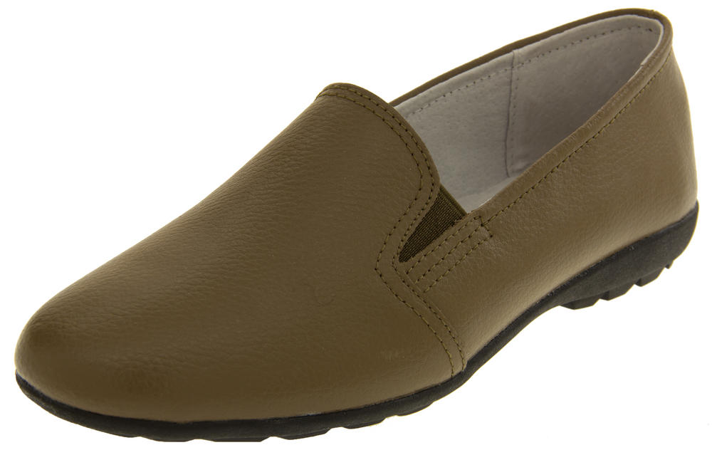 Ladies Leather Casual Flat Slip On Loafers