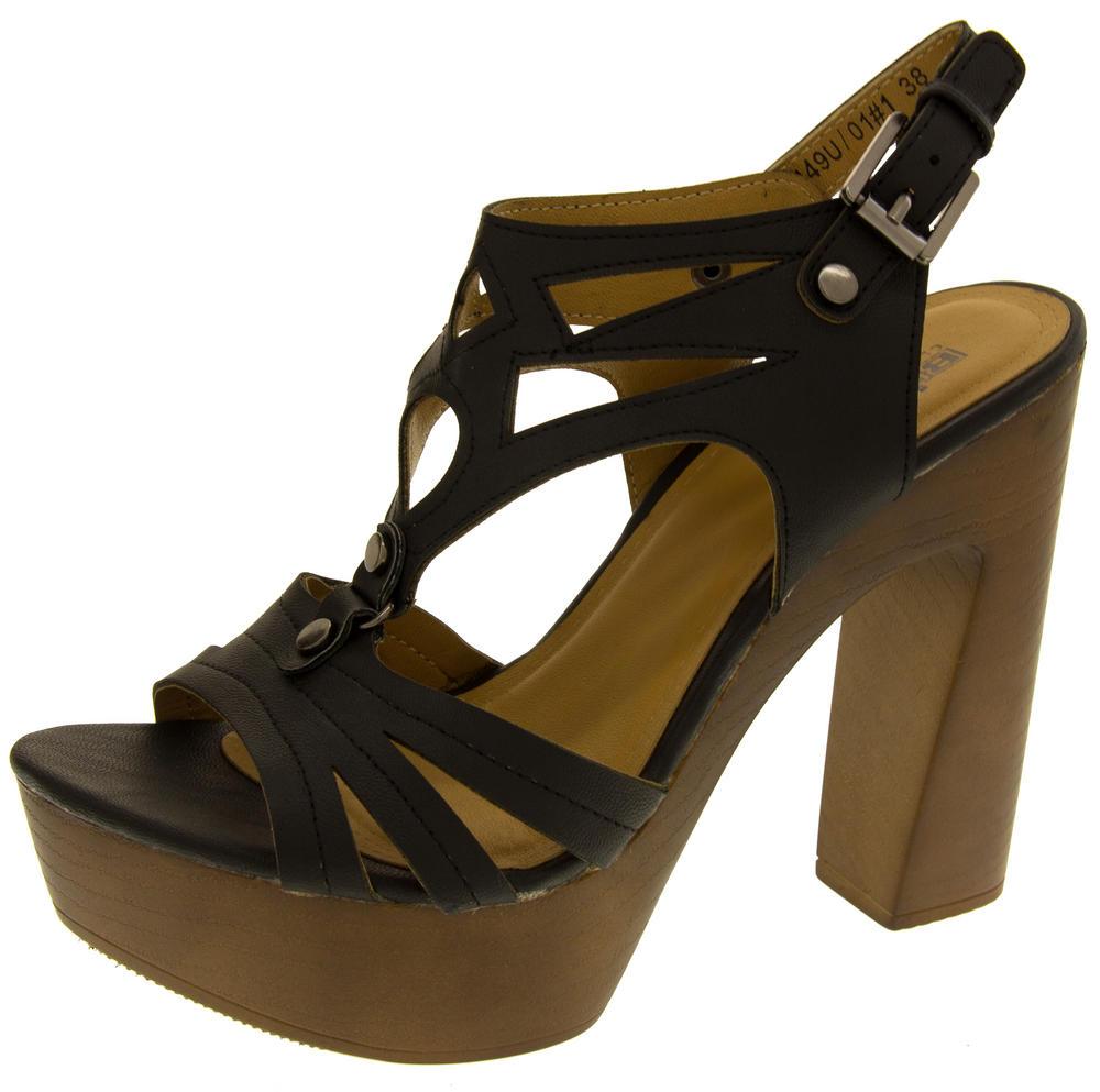 Womens Strappy Platform Sandals Chunky High Heels