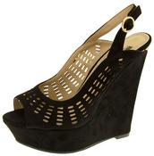 Womens Platform Wedge Faux Suede Cut Out Peep Toe Slingback sizes 3 4 5 6 7