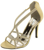 Ladies Divine Satin and Diamante Strappy Wedding Heels Thumbnail 1