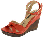 Ladies Elisabeth Distressed Cork Effect Faux Leather Wedge Sandals
