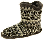 Mens Coolers Fairisle Faux Fur Lined Snowflake Boot Slippers
