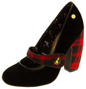 Ladies BABYCHAM Faux Suede Black and Red Tartan Mary Jane Block Heels