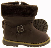 Girls Kiddiflex Faux Leather Buckle Winter Boots with Faux Fur Opening Thumbnail 9