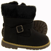Girls Kiddiflex Faux Leather Buckle Winter Boots with Faux Fur Opening Thumbnail 4