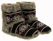 Ladies Coolers Knitted FairIsle Faux Fur Lined Slipper Boots Thumbnail 5