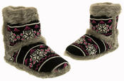 Ladies Coolers Knitted FairIsle Faux Fur Lined Slipper Boots Thumbnail 7