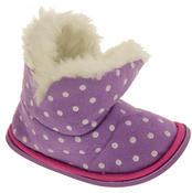 Girls Purple Polka Dot Faux Fur Lined Slipper Booties Flexible Sole Thumbnail 2
