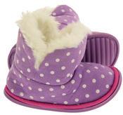 Girls Purple Polka Dot Faux Fur Lined Slipper Booties Flexible Sole Thumbnail 4