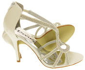 Ladies Divine Satin and Diamante Strappy Wedding Heels Thumbnail 6