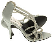 Ladies Divine Satin and Diamante Strappy Wedding Heels Thumbnail 11