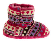 Girls Knitted Herringbone and Heart Slipper Boots Thumbnail 8