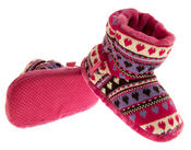 Girls Knitted Herringbone and Heart Slipper Boots Thumbnail 12