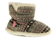 Girls Knitted Herringbone and Heart Slipper Boots Thumbnail 2