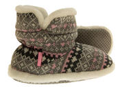 Girls Knitted Herringbone and Heart Slipper Boots Thumbnail 4